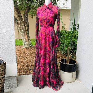 GORGEOUS vintage button front gown dress XS pink